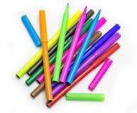 De kleurrijke Multicolored Gevoelde Pennen van tellerspennen Stock Foto's