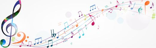 De kleurrijke muziek neemt nota van achtergrond stock illustratie