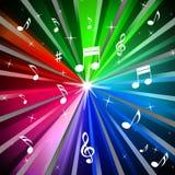 De kleurrijke Muziekachtergrond betekent Stralenlicht en Liederen Stock Fotografie