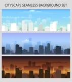 De kleurrijke Naadloze Stad scape plaatste vector illustratie