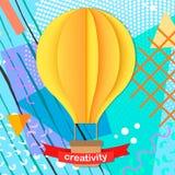 De kleurrijke in Neo geometrische affiche van Memphis met document 3D ballon van de ambachtlucht Stock Foto's