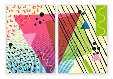 De kleurrijke in Neo geometrische affiche van Memphis Moderne abstracte ontwerpaffiche, dekking, kaartontwerp Stock Foto's