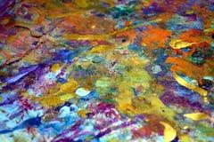 De kleurrijke oranje purpere verfplonsen, kleurrijke levendige wasachtige kleuren, stelt creatieve achtergrond tegenover elkaar Royalty-vrije Stock Afbeelding