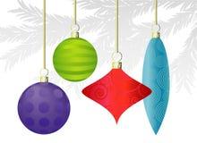 De kleurrijke Ornamenten van Kerstmis Stock Afbeeldingen