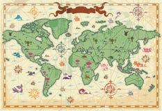 De kleurrijke oude kaart van de Wereld Stock Fotografie