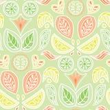 De kleurrijke pastelkleurcitrusvruchten en het bladerendamast ontwerpen in een volkskunststijl Naadloos vectorpatroon stock illustratie