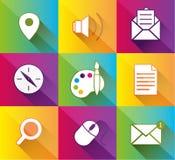 De kleurrijke pictogrammen van de Webtoepassing. Vectorillustratie. Stock Fotografie