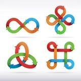 De kleurrijke pictogrammen van het oneindigheidssymbool. Stock Afbeeldingen