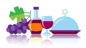 De kleurrijke pictogrammen van de de wijnschotel van de flessenglasdruif royalty-vrije illustratie