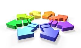 De kleurrijke pijlen stellen de mogelijkheid van oneindig voor royalty-vrije illustratie