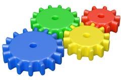 De kleurrijke plastic bouw van speelgoedtandraderen Stock Foto