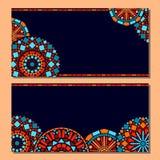 De kleurrijke reeks van cirkel bloemenmandala van kadersachtergrond in blauw en sinaasappel, vector Stock Afbeeldingen