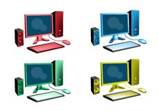 De kleurrijke Reeks van de Illustratie van het Pictogram van de Bureaucomputer van  Stock Fotografie
