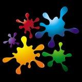 De kleurrijke Reeks van de Plons van de Inkt Vector Illustratie