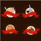 De kleurrijke reeks van de voedselbanner Stock Foto's