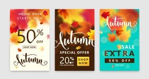 De kleurrijke reeks van de de herfstaffiche De achtergrond van de dalingsverkoop met heldere esdoornbladeren Royalty-vrije Stock Afbeelding