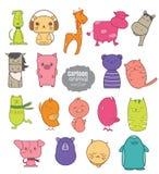 De kleurrijke reeks van het beeldverhaal dierlijke pictogram Stock Foto