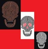 De kleurrijke reeks van het beeldverhaal schedels Stock Afbeeldingen
