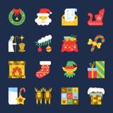 De kleurrijke reeks van het het jaar vlakke pictogram van Cristmas Nieuwe vector illustratie