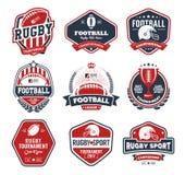 De kleurrijke reeks van het rugbyembleem, het embleemmalplaatje van het Voetbalkenteken royalty-vrije illustratie