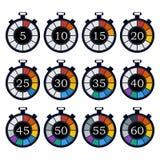 De kleurrijke reeks van het tijdopnemerpictogram Vector illustratie Stock Fotografie