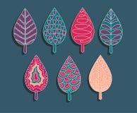 De kleurrijke reeks van ornamentelementen bladeren Royalty-vrije Stock Foto's
