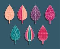 De kleurrijke reeks van ornamentelementen bladeren Stock Foto's
