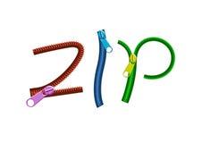 De kleurrijke ritssluitingen van het brievenPIT Stock Foto