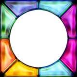 de kleurrijke ronde van het gebrandschilderd glaskader stock illustratie
