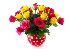 De kleurrijke rozen van het boeket Royalty-vrije Stock Afbeeldingen