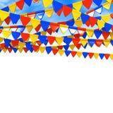 De kleurrijke Ruimte van Vlaggarland on sky with text Stock Foto