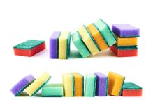 De kleurrijke samenstelling van de keukenspons Royalty-vrije Stock Foto