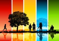 De kleurrijke Scène van de Familie Stock Afbeeldingen