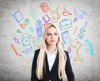 De kleurrijke schets van bureautoebehoren Stock Afbeelding