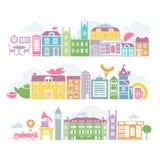 De kleurrijke silhouetten van stadslonden van gebouwen Stock Afbeeldingen