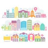 De kleurrijke silhouetten van stadslonden van gebouwen Stock Foto's