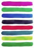 De kleurrijke slagen van de de verfborstel van de waterverfhand. Royalty-vrije Stock Afbeelding