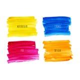 De kleurrijke slagen van de waterverfborstel Stock Afbeelding
