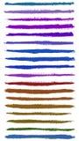 De kleurrijke slagen van de waterverfhand geschilderde borstel Stock Foto's