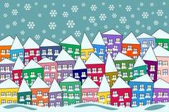 De kleurrijke Sneeuwscène van de Dorpswinter Royalty-vrije Stock Afbeeldingen