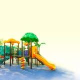 De kleurrijke speelplaats van de kinderenspeelplaats in het park Stock Fotografie