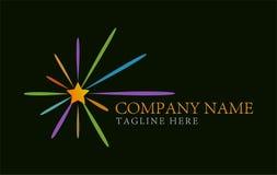 De kleurrijke ster barstte abstract Logo Design-concept en adreskaartjemalplaatje Stock Afbeeldingen