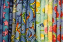 De kleurrijke Stof van het Dekbed Stock Afbeeldingen