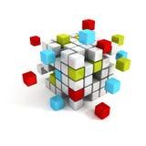 De kleurrijke structuur van kubusblokken Bedrijfsgroepswerk Stock Foto