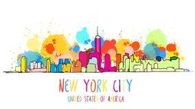De kleurrijke Tekening van de de Stadshorizon van New York royalty-vrije illustratie