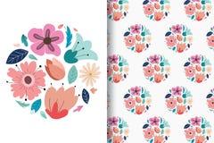 De kleurrijke tekeningen van de bloemhand met editable patronen royalty-vrije illustratie