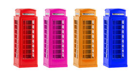 De kleurrijke telefooncellen van Londen (herinnering) op witte achtergrond Royalty-vrije Stock Foto's