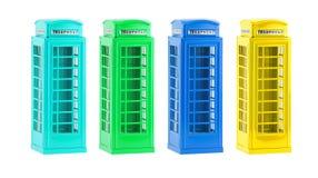 De kleurrijke telefooncellen van Londen (herinnering) op witte achtergrond Stock Afbeelding