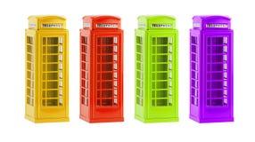 De kleurrijke telefooncellen van Londen (herinnering) op witte achtergrond Stock Foto's
