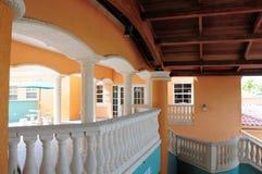 De kleurrijke trap van het de bouwbalkon stock foto